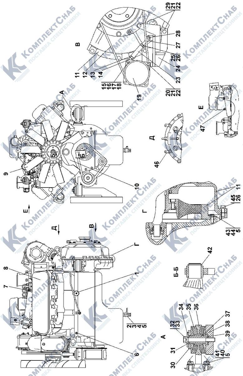 1102-01-2-01СП Установка двигателя ЯМЗ-236НД 1.1