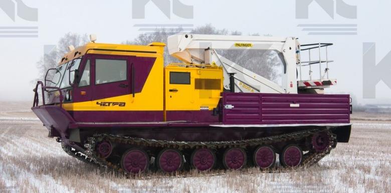 Гусеничная транспортная машина ТМ-140 c автогидроподъемником PALFINGER P200A