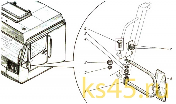 Кабина TM 120-57-сб301 (установка зеркала заднего вида)